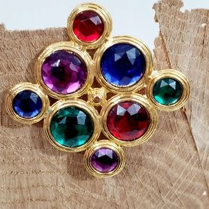 Vintage Multicolored Jeweled Gold Tone Brooch